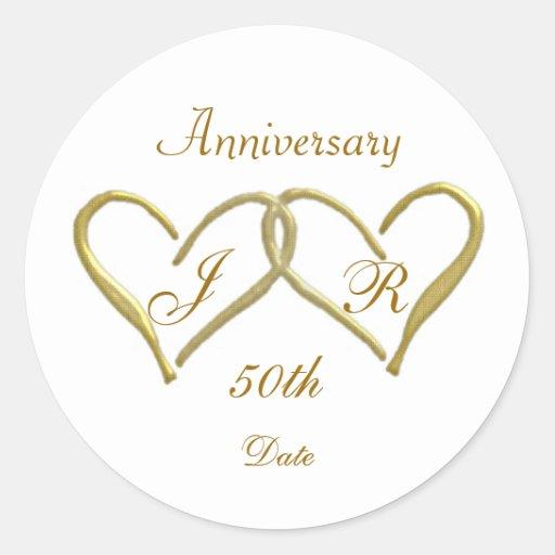 2 hearts Monogram Golden Wedding Anniversary Round Stickers