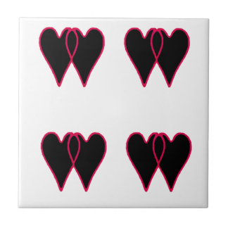 2 Hearts Together Black The MUSEUM Zazzle Gifts Small Square Tile