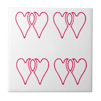 2 Hearts Together The MUSEUM Zazzle Gifts Small Square Tile