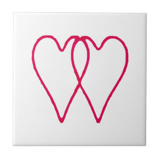 2 Hearts Together White The MUSEUM Zazzle Gifts Small Square Tile