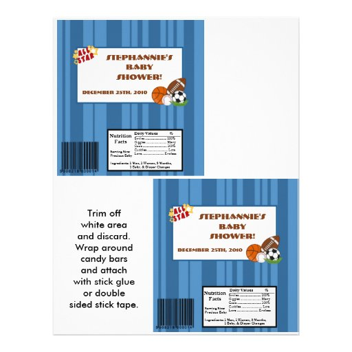 2 Hershey's Large Bar Wrapper All-Star Blue Custom Flyer