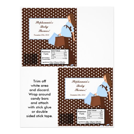 2 Hershey's Large Bar Wrapper Blue Mod Mom Polka D Personalized Flyer