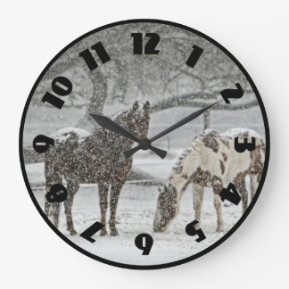 2 Horses Outside in Winter during Snowy Weather Wallclock