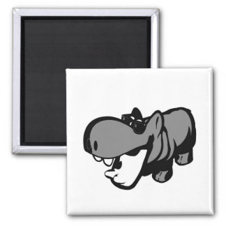 2 Inch Square Magnet - Cool Summertime Hippo