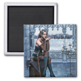 2 Inch Square Magnet; Fairy Collection: Tatiana Square Magnet