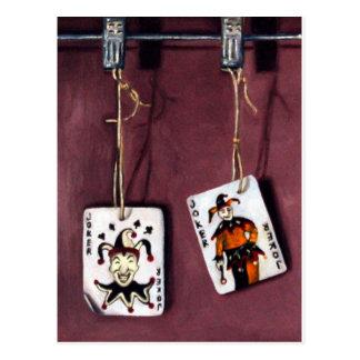 2 Joker's-Lucky Jokers-Wild Cards Postcard