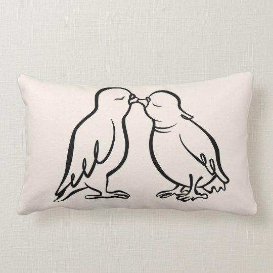 2 Kissing Sparrows– wedding gift, CraftiesPot Lumbar Cushion