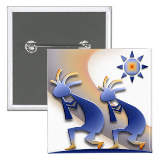 2 Kokopelli #128 15 Cm Square Badge