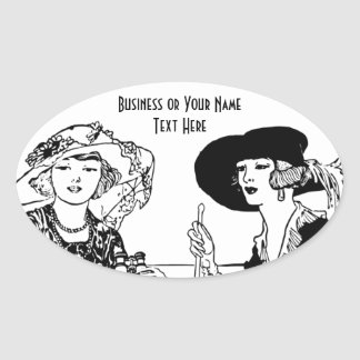 2 Ladies Vintage Fashion and Hats Company Name Oval Sticker