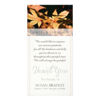 2 leaves in Autumn Sympathy Thank You Photo Card Template