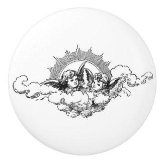 2 little Angels on cloud black & white vintage art Ceramic Knob