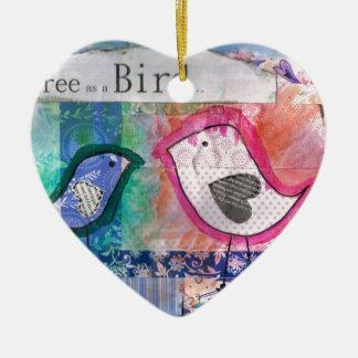2 little birds- peter & paul ceramic heart decoration
