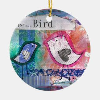 2 little birds- peter & paul round ceramic decoration