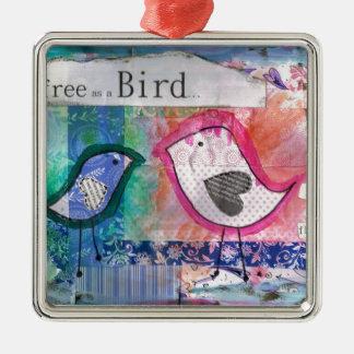 2 little birds- peter & paul Silver-Colored square decoration