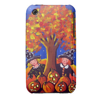 2 Little Witches Halloween Folk Art Fall iPhone Case-Mate iPhone 3 Cases