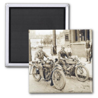 2 men on motorcycles magnet