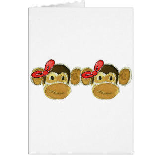 2 monkey heads red bows greeting card