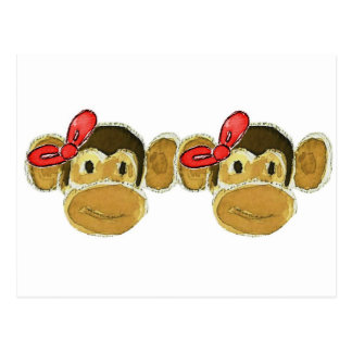 2 monkey heads red bows post card
