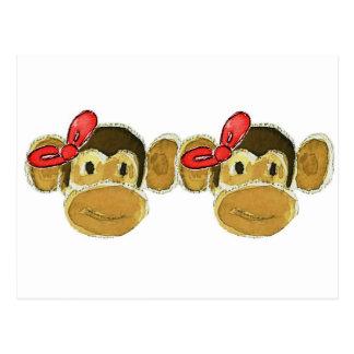 2 monkey heads red bows postcard