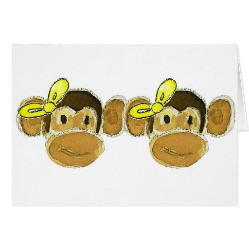 2 monkey heads yellow bows card