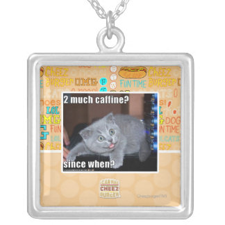 2 much caffine? silver plated necklace