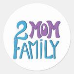 2 Mum Family Round Stickers