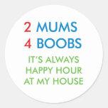 2 mums round stickers