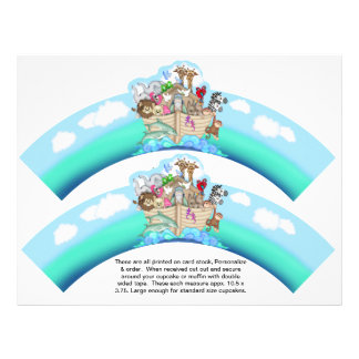 2 Noahs Ark Baby Personalized Cupcake Wrappers 21.5 Cm X 28 Cm Flyer