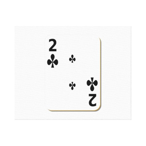 2 of Clubs Playing Card Stretched Canvas Prints