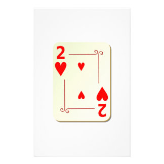 2 of Hearts Playing Card Stationery Paper