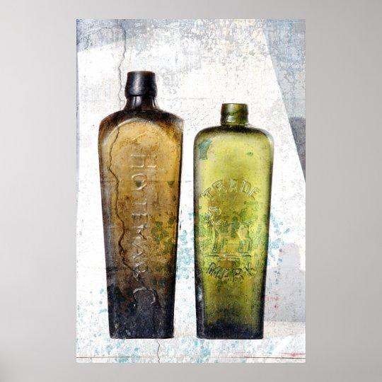 2 old bottles poster