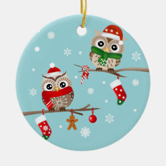 2 Owls on Christmas Branches Ornament