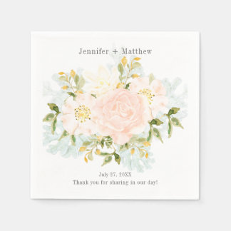#2 Pale Peach Roses Greenery Reception Paper Napkin