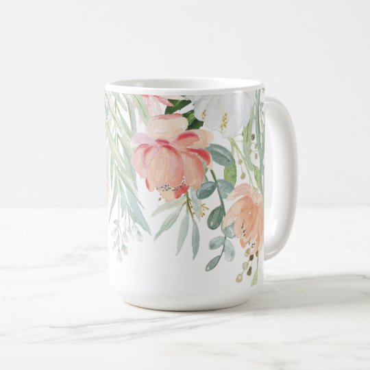 #2 Pale Peach Sage Green Watercolor Floral Coffee