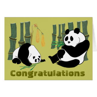 2 Pandas eat Bamboo Tropical Forest Birthday Card