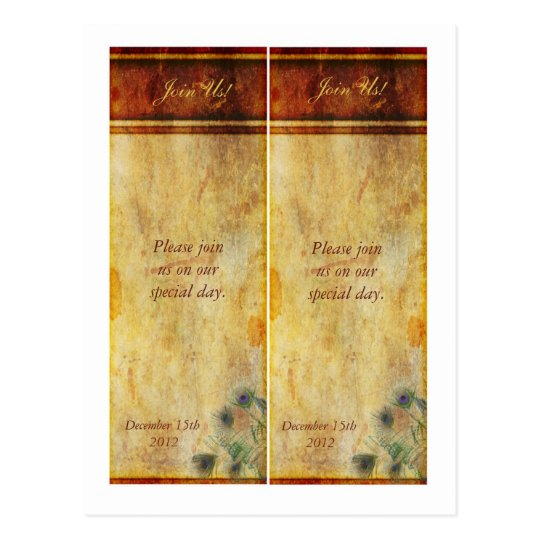 2 Peacock Feather Save the Date Bookmarks Postcard