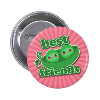 2 PEAS  BEST FRIENDS 6 CM ROUND BADGE