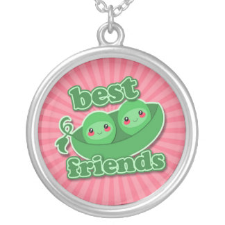 2 PEAS  BEST FRIENDS ROUND PENDANT NECKLACE