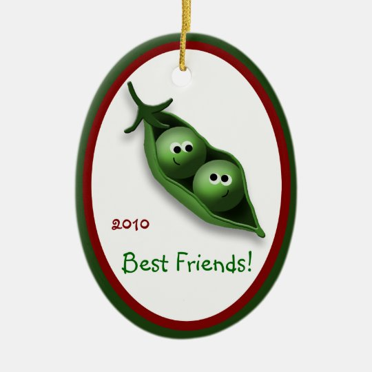 2 Peas in a Pod Oval Ceramic Christmas