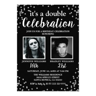 2 Photo Black Silver Birthday Invitation