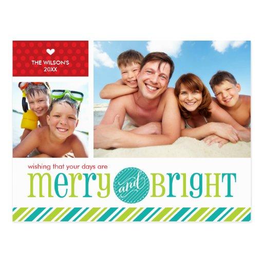 2 PHOTO CHRISTMAS POSTCARD :: merry & bright 4