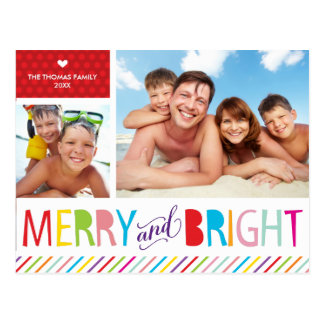 2 PHOTO CHRISTMAS POSTCARD modern merry & bright