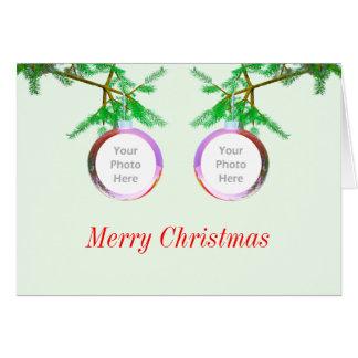 2-Photo Christmas Tree Balls (photo frame) Greeting Cards