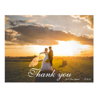 2 Photo Script Lettered Wedding Thank You Postcard