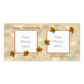 2-Photo Thanksgiving - Drifting Fall Leaves Card