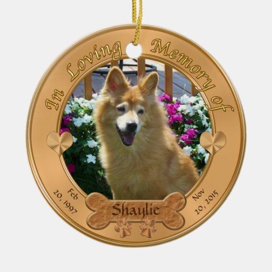 2 Photos, 3 Text Boxes Dog Memorial Ornament