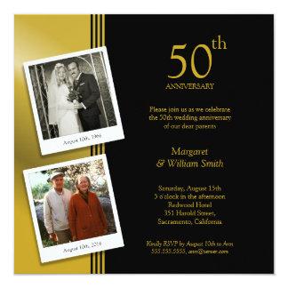 2 Photos Golden 50th Wedding Anniversary Party Card
