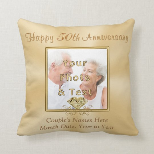 2 Photos Personalised 50th Anniversary Gifts Cushion