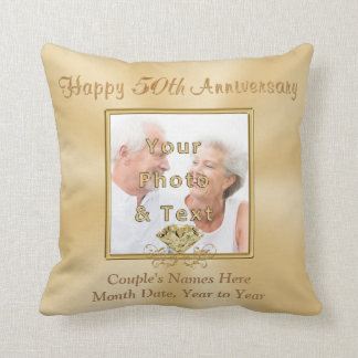 2 Photos Personalized 50th Anniversary Gifts Cushion