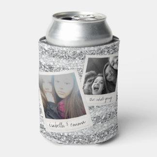 2 Photos - Silver Glitter Square Photo Collage